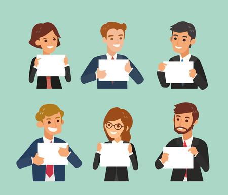 happy business people holding a blank white sign board vector cartoon illustration Vektoros illusztráció