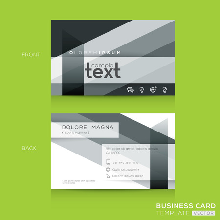 business card template: Business cards Design Template with abstract black and white banding shape background