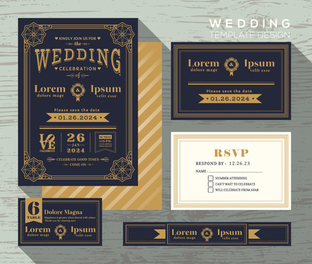 response: vintage typography wedding invitation frame set Template place card response card save the date card Illustration