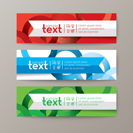 Set of modern design web banners template with colorful abstract circle background