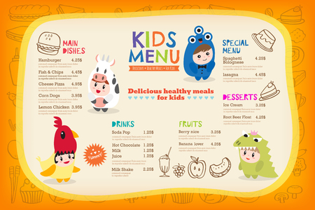 dressing up: Cute colorful kids meal menu placemat with children dressing up in costumes vector template