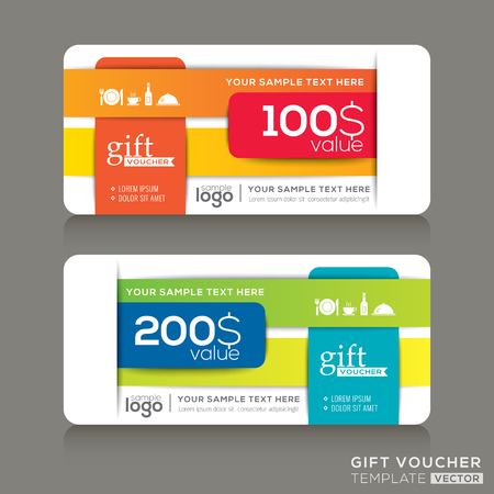banding: Vector Gift voucher template with abstract colorful modern design background