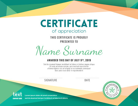 Modern certificate with green polygonal background design template