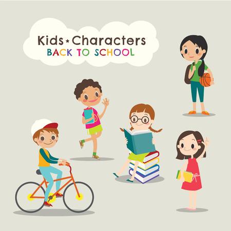 enfants heureux en lisant des livres retour au concept d'école vecteur de bande dessinée illustration