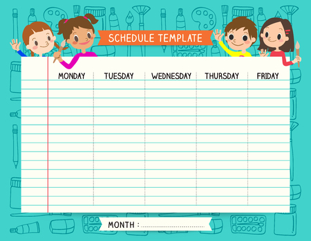 classes schedule: School plan schedule template memos set for children with art palette background