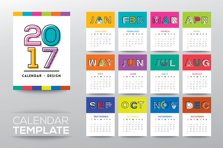 october calendar: 2017 calendar vector template with modern line graphic style, week starts from Sunday Illustration
