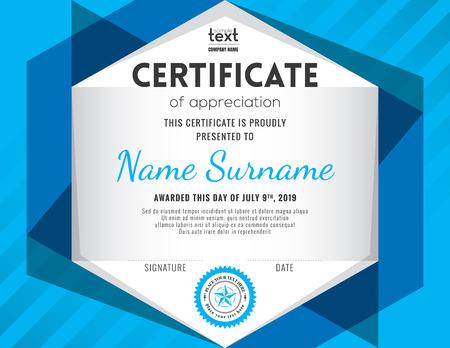 certificate design: Modern certificate with blue polygonal background design template