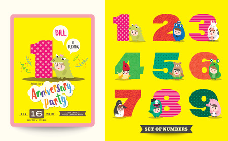 children celebration: one year anniversary kids birthday celebration background with children cartoon in costume and numbers template