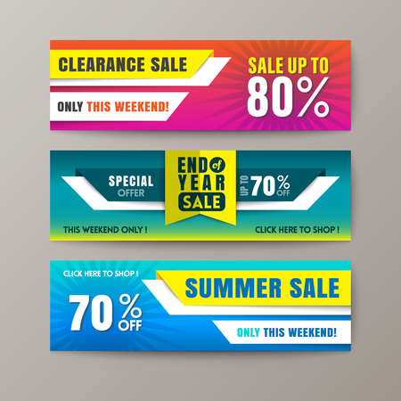 Set Of Promotion Sale Discount Web Banner