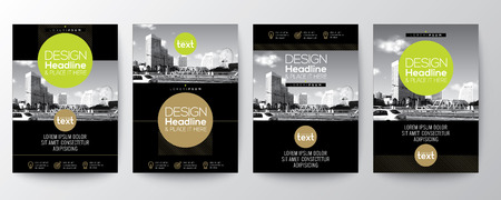 collection of poster flyer brochure cover layout design template with circle shape graphic elements and space for photo background Illustration