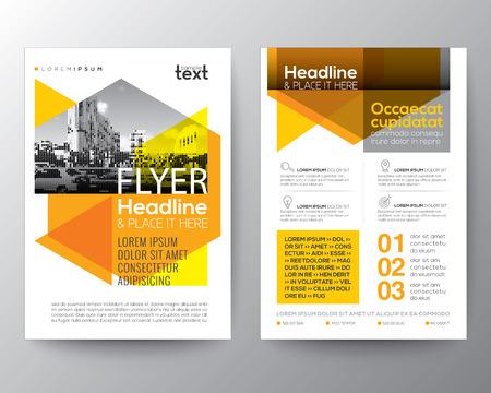 Fondo geométrico abstracto amarillo para el cartel Folleto folleto plantilla vector de diseño de diseño de tamaño A4 Foto de archivo - 68874284