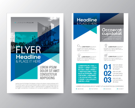 Abstract Blue geometric background for Poster Brochure Flyer design Layout vector template in A4 size Vectores