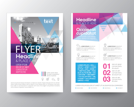 Abstract Blue and Pink geometric background for Poster Brochure Flyer design Layout vector template in A4 size Illustration