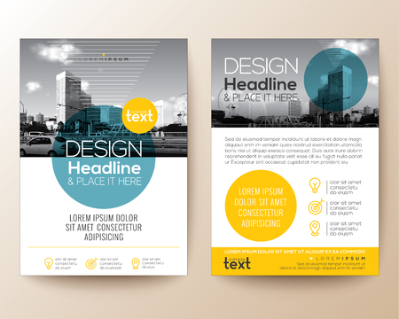 align: poster flyer pamphlet brochure cover design layout with circle shape graphic elements and space for photo background, blue and yellow color scheme, vector template in A4 size Illustration
