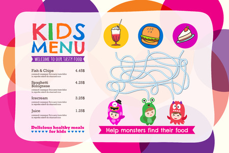 eating lunch: Cute colorful kids meal menu placemat with circle background vector template