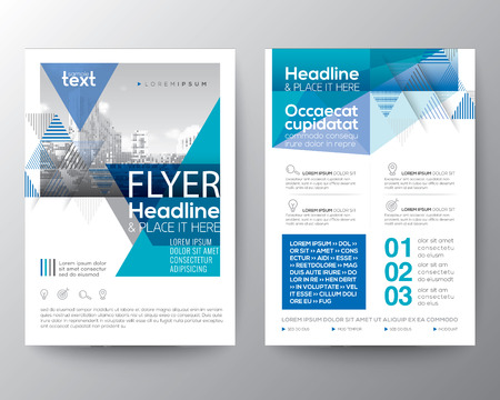 Abstract Blue geometric background for Poster Brochure Flyer design Layout vector template in A4 size Illustration