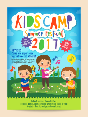 kids summer camp education advertising poster flyer template with illustration of children singing and playing music in background