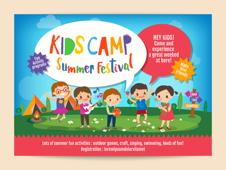 kids summer camp education advertising poster flyer template with illustration of children doing activities on camping Vectores