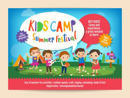 campamento: niños de publicidad educación plantilla de volante cartel campamento de verano con la ilustración de los niños que realizan actividades sobre el camping