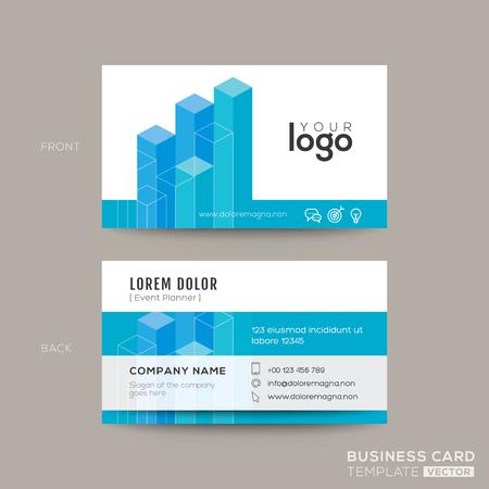 blue card: Blue modern business card design