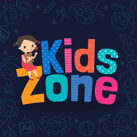male teenager: young girl with kids zone word cartoon vector illustration