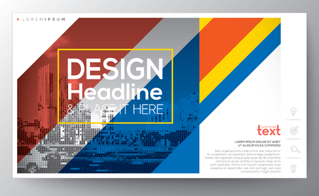 banding: red and blue diagonal banding line modern graphic design Layout vector template, 16:9 ratio