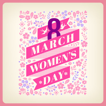 greeting card background: Womens day greeting card with floral background