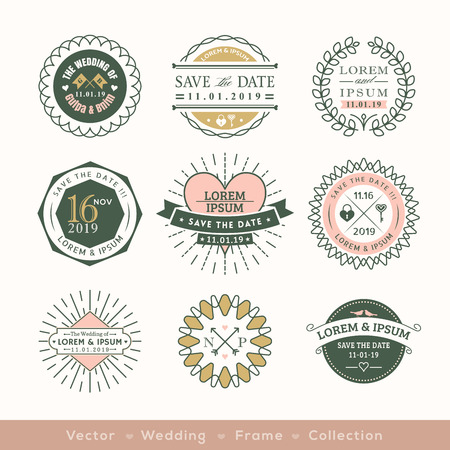 retro modern wedding logo frame badge vector design element Vettoriali