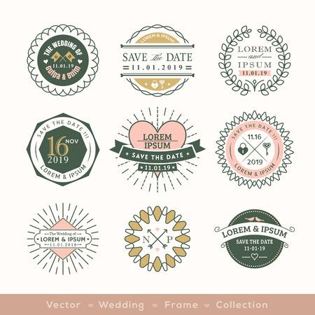 retro modern wedding logo frame badge vector design element Illustration