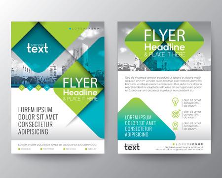 Abstracte Cross diagonale vierkante vorm met groene kleur. Grafische element achtergrond voor brochure dekking flyer posterontwerp Lay-out vector sjabloon in A4-formaat