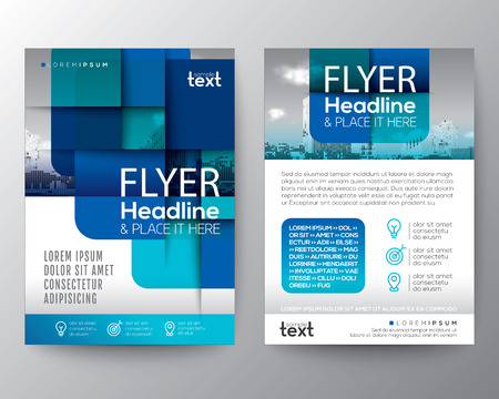 Abstract blue round square graphic background for Brochure cover Flyer Poster design Layout vector template in A4 size