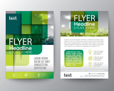 Abstract green round square graphic background for Brochure cover Flyer Poster design Layout vector template in A4 size