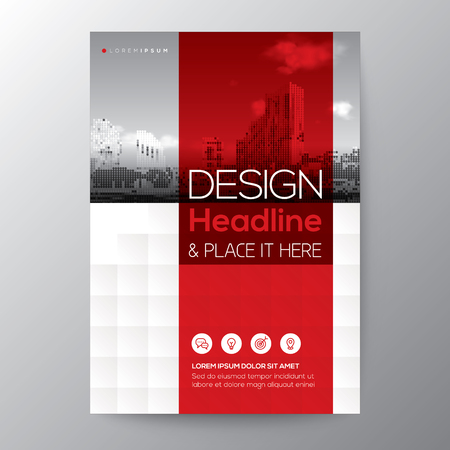 Red stripe graphic background for Brochure annual report cover Flyer Poster design Layout vector template in A4 size Reklamní fotografie - 76568921