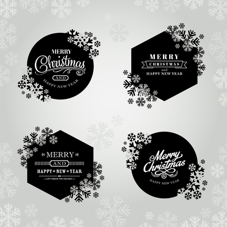 Merry christmas and happy new year frame with snowflakes
