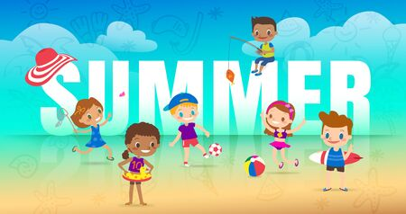 Summer holiday on the beach, children with many outdoor activities. diversity kids with big SUMMER letter on beach background cartoon vector illustration.