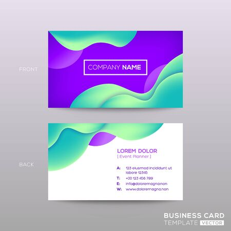 business card with abstract violet background with green wavy curved shape background Ilustração