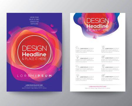 Moderna forma fluida astratta del cerchio con gradiente di colori vivaci e luminosi su sfondo blu per brochure, flyer, poster, depliant, relazione annuale, copertina del libro, modello di layout di progettazione grafica, formato A4 Vettoriali