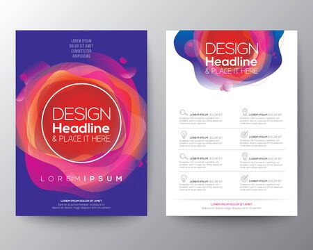 Nowoczesny abstrakcyjny kształt koła płynu z żywym i jasnym gradientem kolorów na niebieskim tle dla broszury, ulotki, plakatu, ulotki, raportu rocznego, okładki książki, szablonu układu graficznego, formatu A4 Ilustracje wektorowe