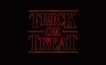 Trick or Treat, Halloween text design with Red glow text on black background. 80's style, eighties design. Vector illustration