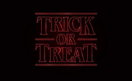 Truco o trato, diseño de texto de Halloween con texto de resplandor rojo sobre fondo negro. Estilo de los 80, diseño de los 80. Ilustración vectorial