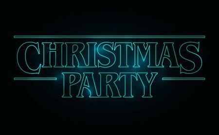 Christmas Party text design, Christmas word with green glow text on black background. 80's style, eighties design. Vector illustration Vector Illustration