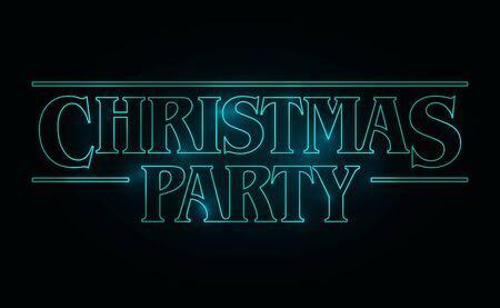 Progettazione del testo della festa di Natale, parola di Natale con testo bagliore verde su sfondo nero. Stile anni '80, design anni '80. Illustrazione vettoriale Vettoriali