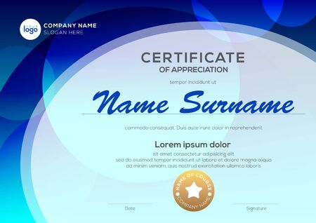 Certificate template with oval shape on blue background. Certificate of appreciation, award diploma design template. Vector illustration Illustration