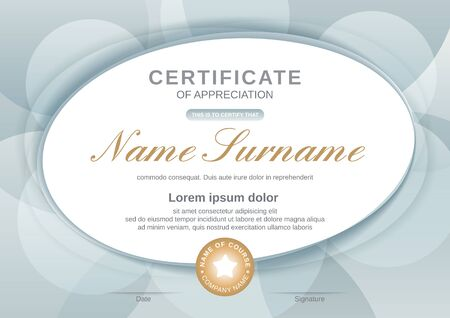 Certificate template with oval shape on grey background. Certificate of appreciation, award diploma design template. Vector illustration Illustration