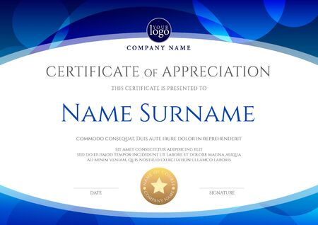 Certificate template with oval shape on blue background. Certificate of appreciation, award diploma design template. Vector illustration Stock Vector - 129675836