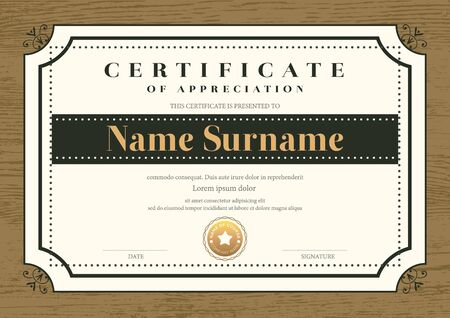Certificate template with vintage frame on wooden background. Certificate of appreciation, award diploma design template. Vector illustration Stock Vector - 129675833