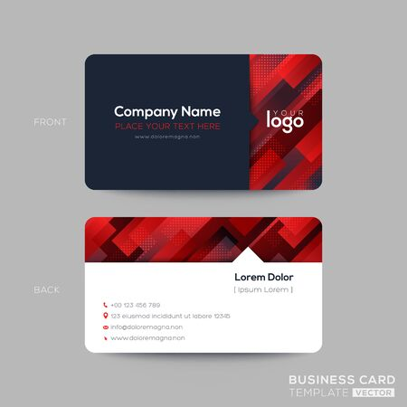 Red business card, membership card, VIP club card template with oblique line shape graphic element on black background. modern design. Ilustrace