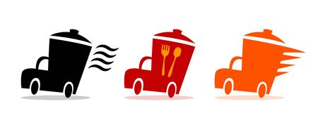 Fast Food delivery icons, Food services restaurant and cafe. Vector design food delivery.Van abstract with food box. logistic truck icon. vector illustration eps 10 Illustration
