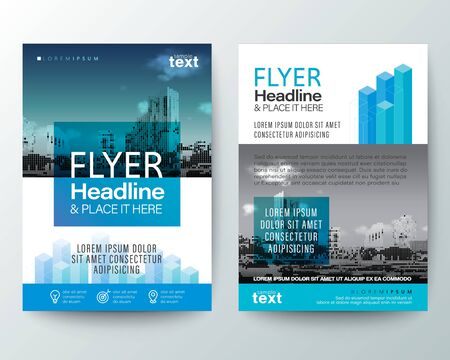 abstract blue isometric shape graphic with space for photo background. Brochure cover Flyer Poster design Layout vector template in A4 size, Real estate flyer