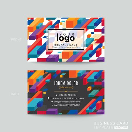 Business card design with colorful isometric blocks graphic background. modern name card design template.